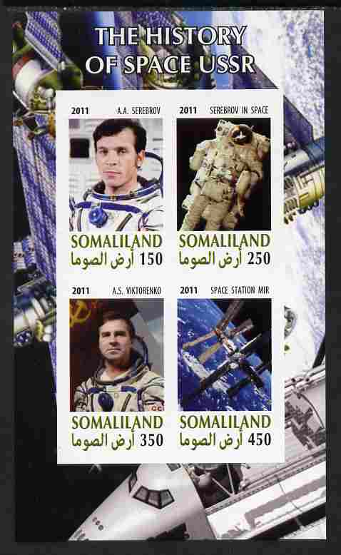 Somaliland 2011 History of Space - USSR #13 imperf sheetlet containing 4 values unmounted mint