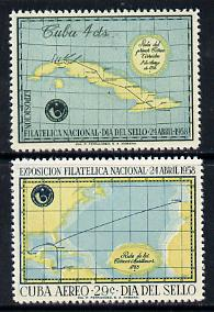Cuba 1958 Stamp Day & Philatelic Exhibition set of 2 unmounted mint SG 864-65*