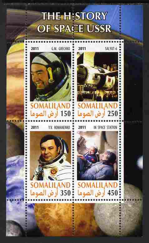 Somaliland 2011 History of Space - USSR #14 perf sheetlet containing 4 values unmounted mint