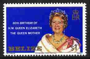 Belize 1980 Queen Mother 80th B'day $1 unmounted mint, SG 592