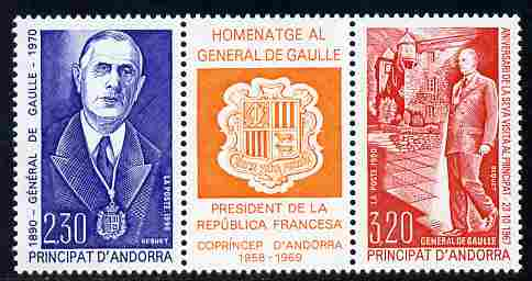 Andorra - French 1990 Birth Centenary of Charles de Gaulle se-tenant strip of 3 (2 stamps plus label) unmounted mint, SG F434a