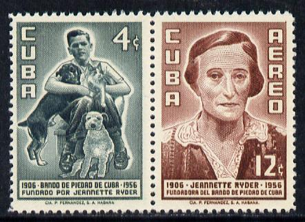 Cuba 1957 Prevention of Cruelty to Animals se-tenant pair unmounted mint, SG 823-24*