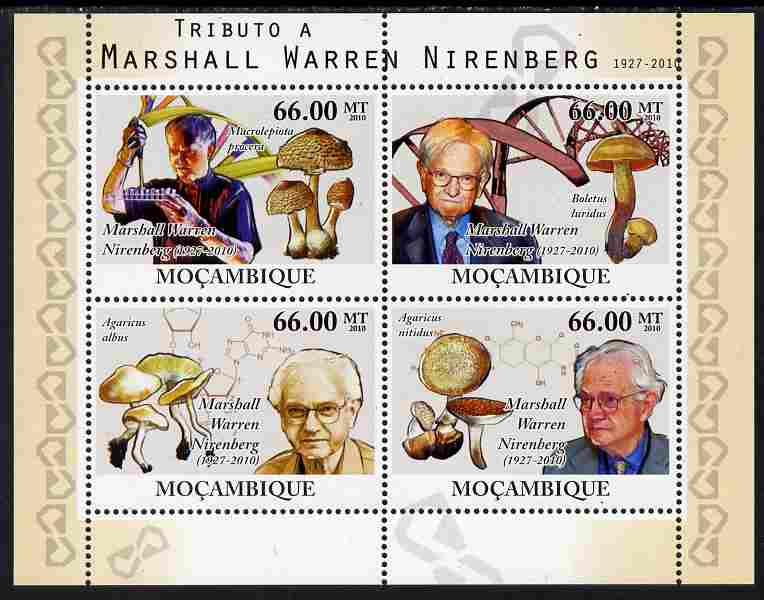 Mozambique 2010 Tribute to Marshall Warren Nirenberg (biochemist) perf sheetlet containing 4 values unmounted mint