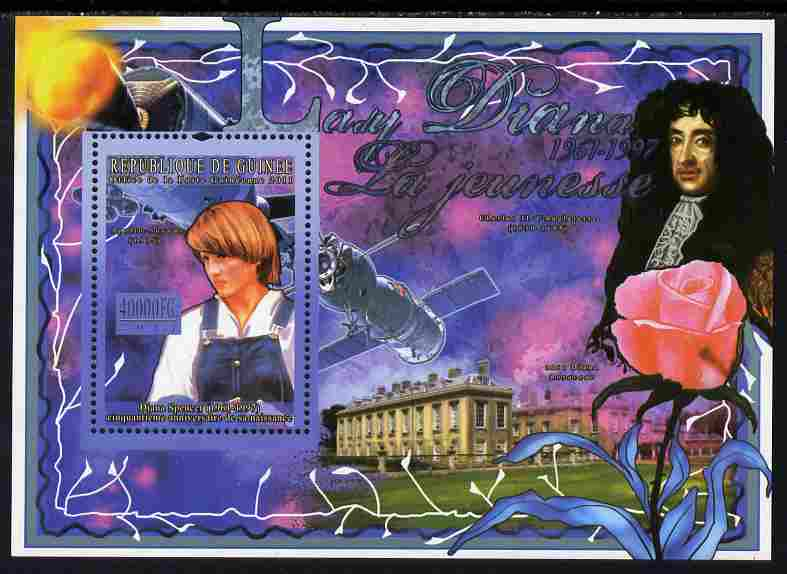 Guinea - Conakry 2011 50th Birth Anniversary of Princess Diana #1 perf s/sheet unmounted mint , stamps on royalty, stamps on diana, stamps on satellites