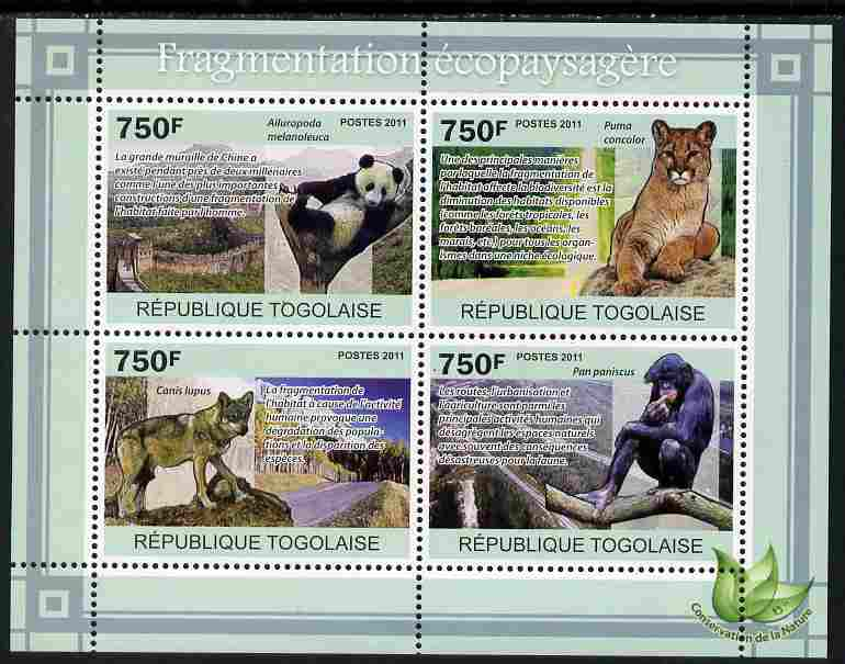 Togo 2011 Environment - Fragmentation of Habitat - Animals perf sheetlet containing 4 values unmounted mint