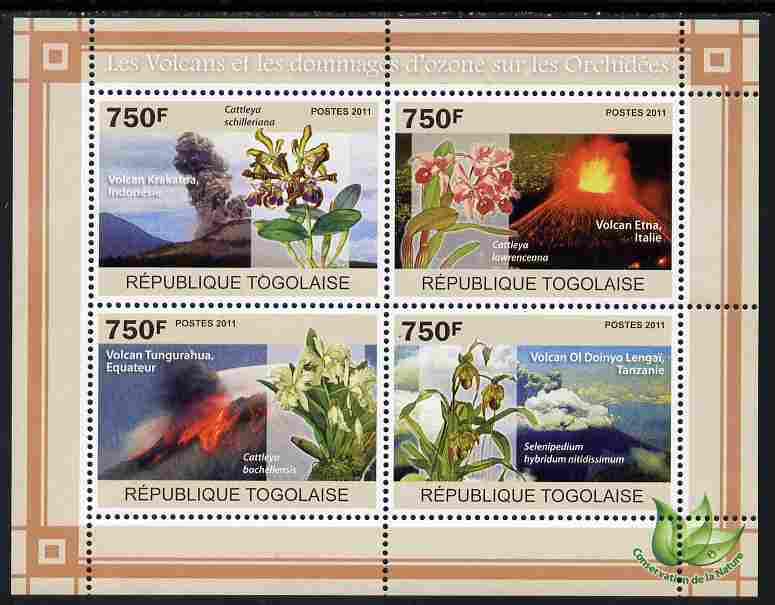 Togo 2011 Environment - Volanoes & Ozone Damage - Orchids perf sheetlet containing 4 values unmounted mint