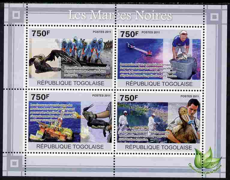 Togo 2011 Environment - Oil Spills - Animals & Birds perf sheetlet containing 4 values unmounted mint