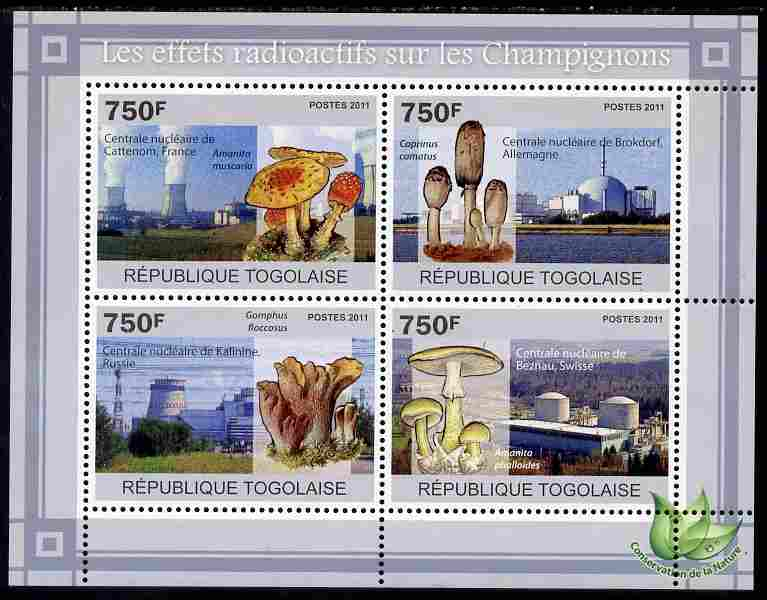 Togo 2011 Environment - Radioactivity - Mushrooms perf sheetlet containing 4 values unmounted mint