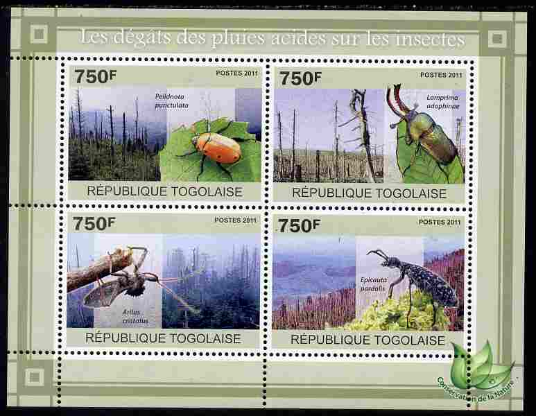 Togo 2011 Environment - Acid Rain - Insects perf sheetlet containing 4 values unmounted mint