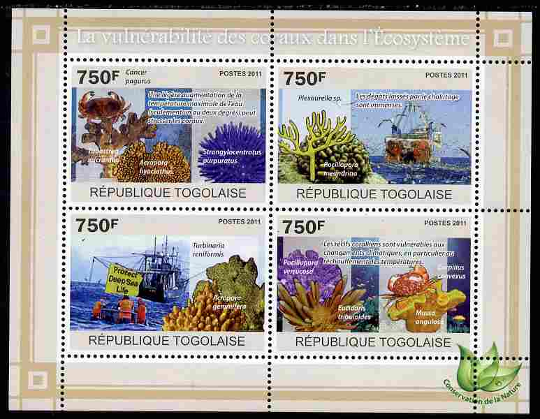 Togo 2011 Environment - Vulnerable Corals - Ships perf sheetlet containing 4 values unmounted mint