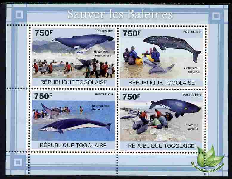 Togo 2011 Save the Whales perf sheetlet containing 4 values unmounted mint