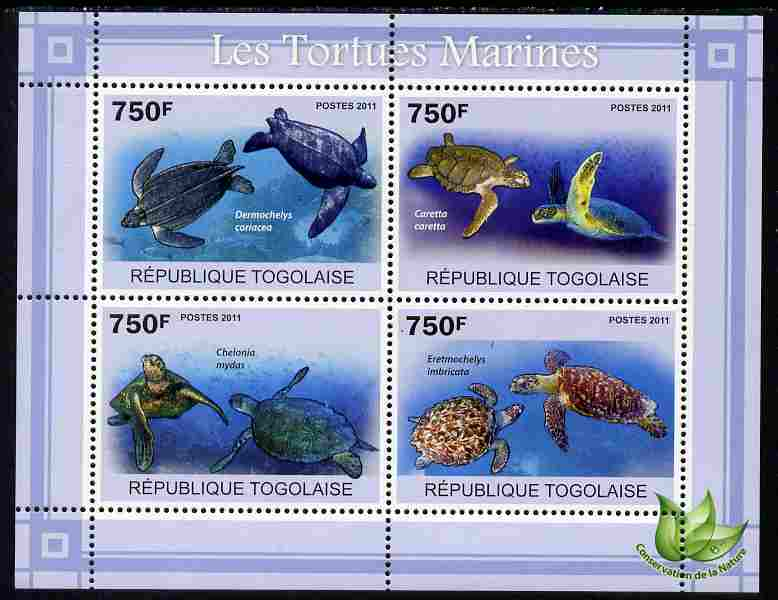 Togo 2011 Marine Turtles perf sheetlet containing 4 values unmounted mint