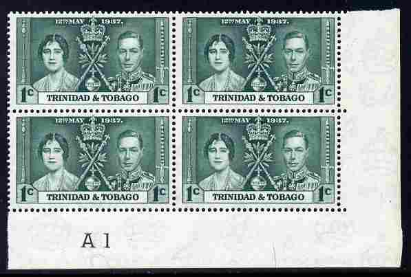 Trinidad & Tobago 1937 KG6 Coronatio 1c corner plate block of 4 (plate A1) unmounted mint (plate numbers are surprisingly scarce on the Coronation issues)