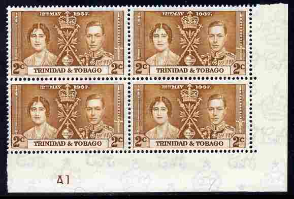 Trinidad & Tobago 1937 KG6 Coronatio 2c corner plate block of 4 (plate A1) unmounted mint (plate numbers are surprisingly scarce on the Coronation issues)