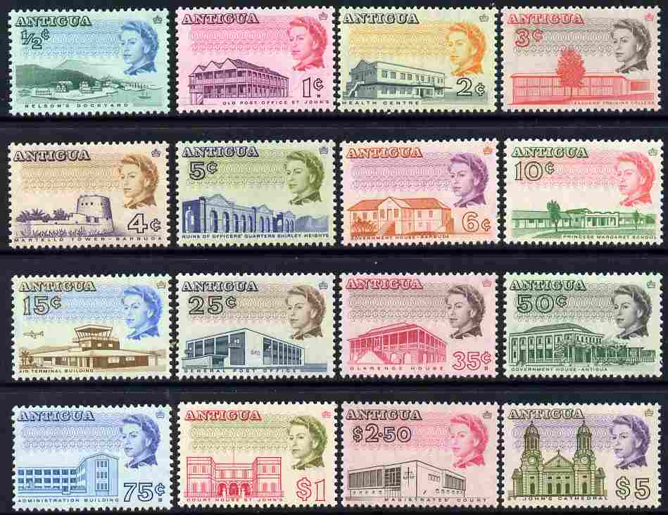 Antigua 1966-70 Pictorial defs complete, 16 values unmounted mint SG 180-95