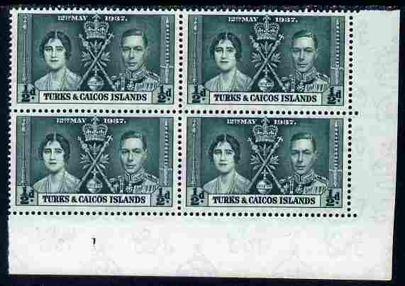 Turks & Caicos Islands 1937 KG6 Coronation 1/2d corner plate block of 4 (plate 1) unmounted mint (Coronation plate blocks are rare) SG 191, stamps on royalty, stamps on  kg6 , stamps on coronation