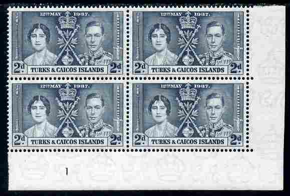 Turks & Caicos Islands 1937 KG6 Coronation 2d corner plate block of 4 (plate 1) unmounted mint (Coronation plate blocks are rare) SG 192