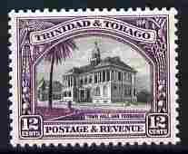 Trinidad & Tobago 1935-37 Town Hall 12c P13x12.5 unmounted mint SG 235a