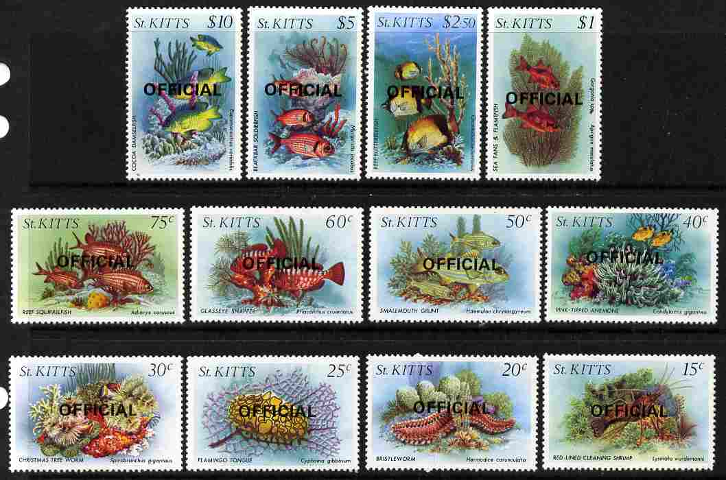 St Kitts 1984 Marine Life perf set of 12 opt'd OFFICIAL unmounted mint, SG O29-40