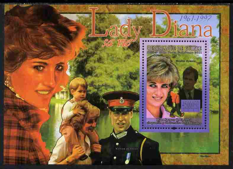Guinea - Conakry 2011 50th Birth Anniversary of Princess Diana #1 perf s/sheet unmounted mint Michel BL 1913