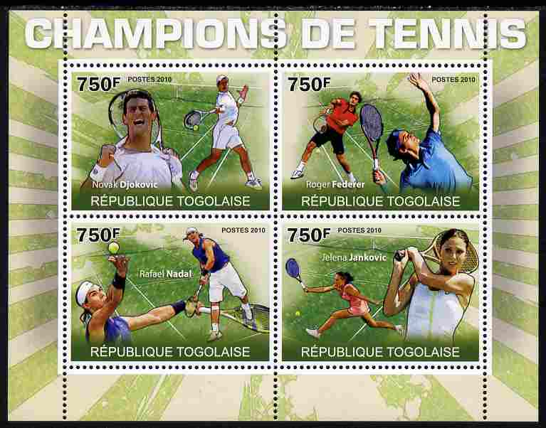 Togo 2010 Champions of Tennis perf sheetlet containing 4 values unmounted mint Yvert 2256-59