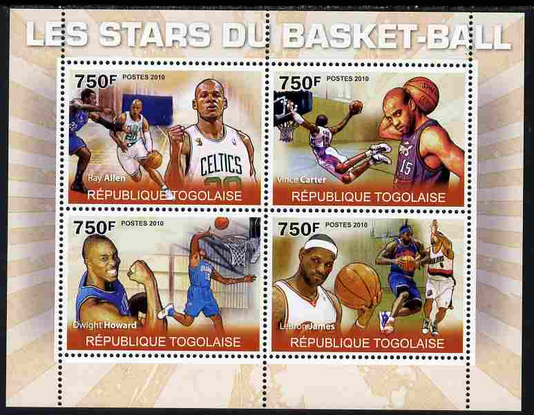 Togo 2010 Basketball Stars perf sheetlet containing 4 values unmounted mint Yvert 2260-63
