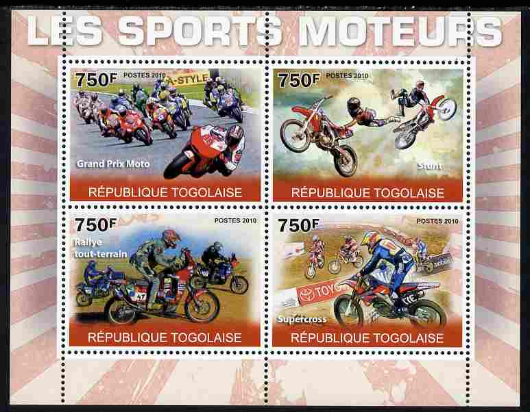 Togo 2010 Motorsport perf sheetlet containing 4 values unmounted mint Yvert 2264-67