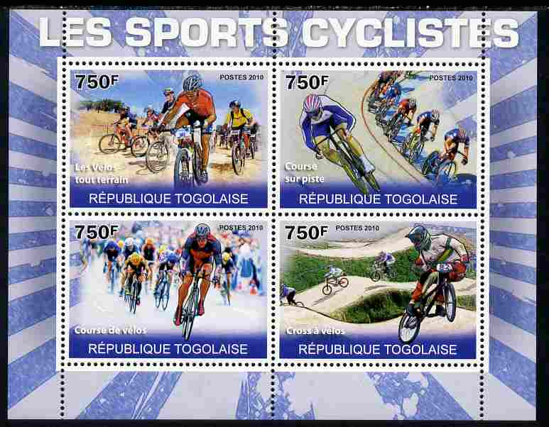 Togo 2010 Cycling perf sheetlet containing 4 values unmounted mint Yvert 2268-71