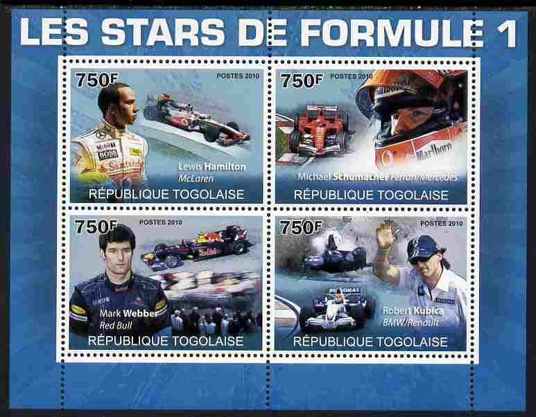 Togo 2010 Formula 1 Stars perf sheetlet containing 4 values unmounted mint Yvert 2272-75