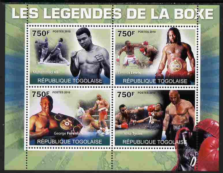 Togo 2010 Boxing Legends perf sheetlet containing 4 values unmounted mint Yvert 2280-83