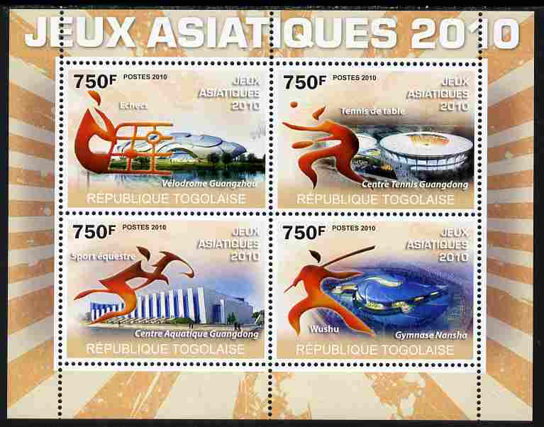 Togo 2010 Asian Games perf sheetlet containing 4 values unmounted mint Yvert 2284-87