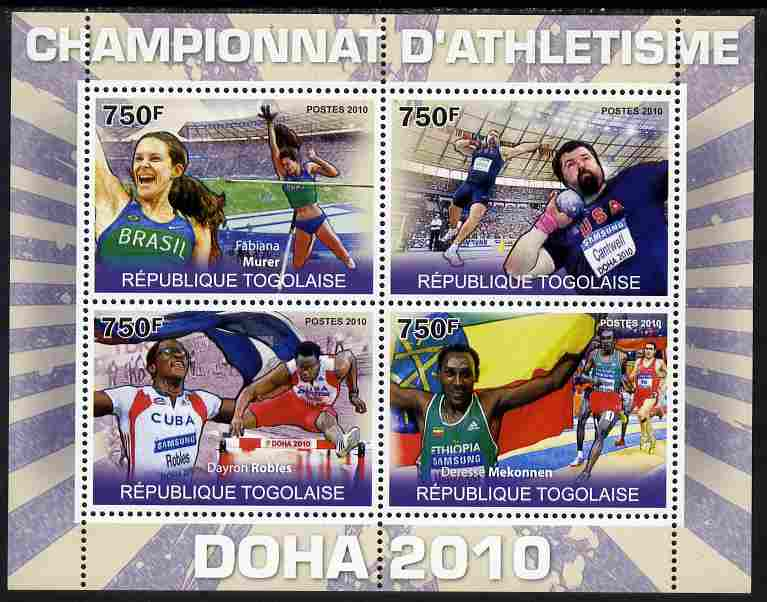 Togo 2010 Doha Athletic Champions perf sheetlet containing 4 values unmounted mint Yvert 2288-91