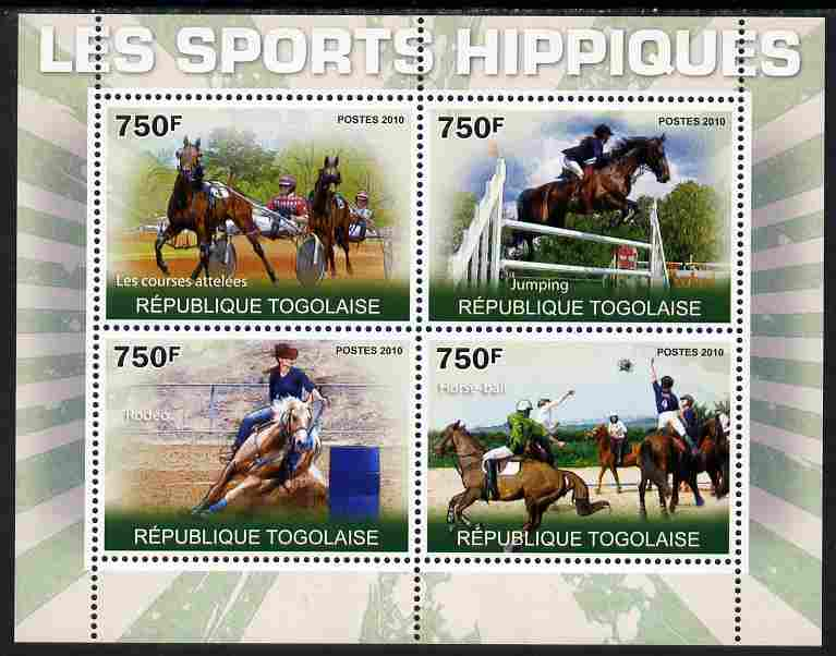 Togo 2010 Equestrian Sports perf sheetlet containing 4 values unmounted mint Yvert 2292-95