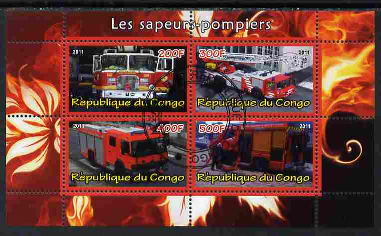 Congo 2011 Fire Brigades #1 perf sheetlet containing 4 values cto used