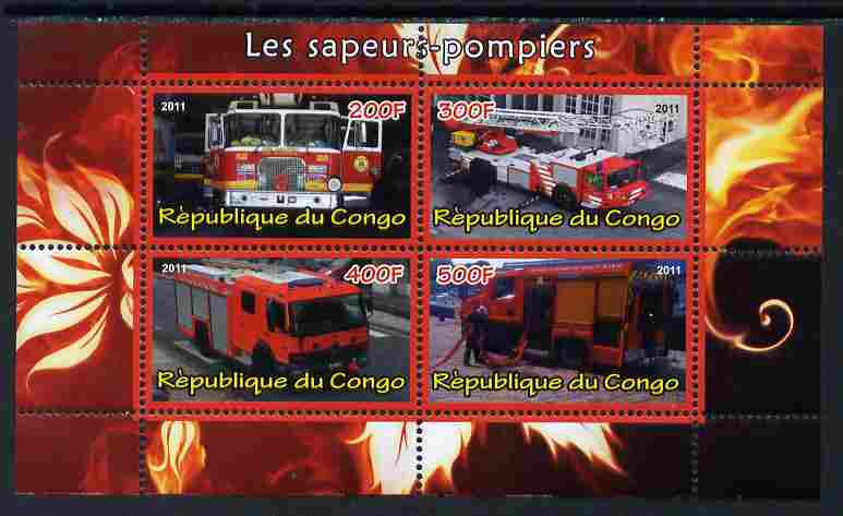 Congo 2011 Fire Brigades #1 perf sheetlet containing 4 values unmounted mint