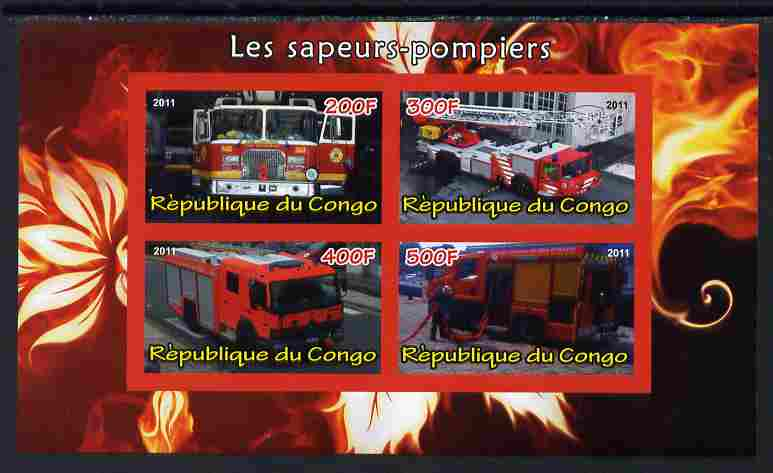 Congo 2011 Fire Brigades #1 imperf sheetlet containing 4 values unmounted mint