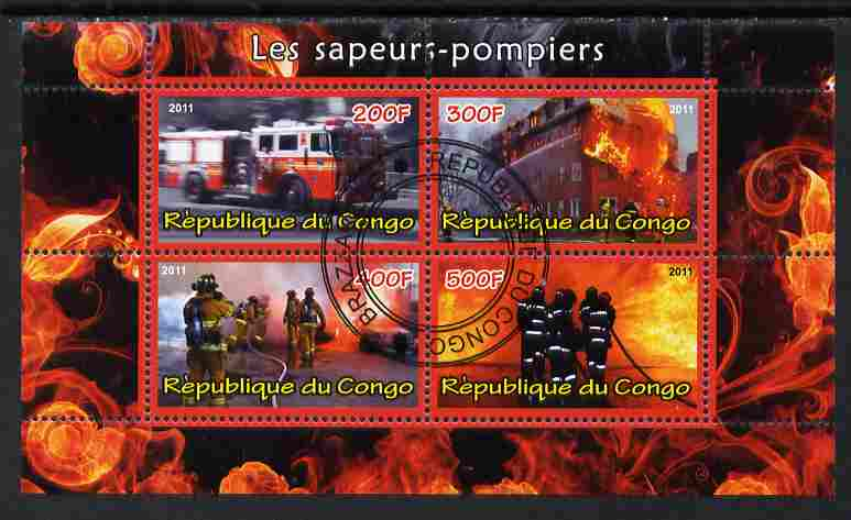 Congo 2011 Fire Brigades #2 perf sheetlet containing 4 values cto used