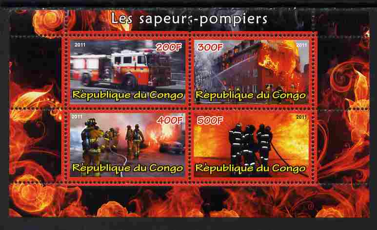 Congo 2011 Fire Brigades #2 perf sheetlet containing 4 values unmounted mint