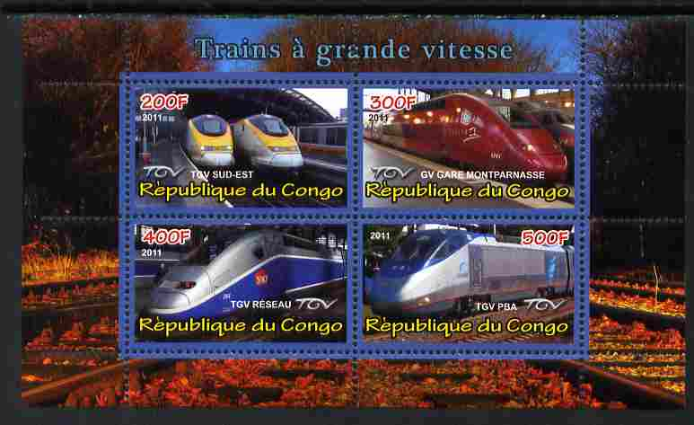 Congo 2011 High Speed Trains #1 perf sheetlet containing 4 values unmounted mint