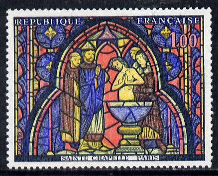 France 1966 French Art - Baptism of Judas (Stained Glass Window) 1f unmounted mint SG 1712*