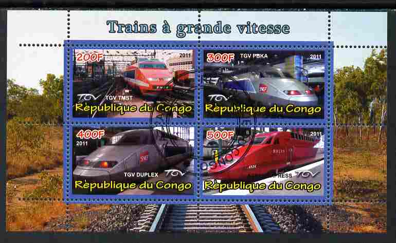 Congo 2011 High Speed Trains #2 perf sheetlet containing 4 values cto used