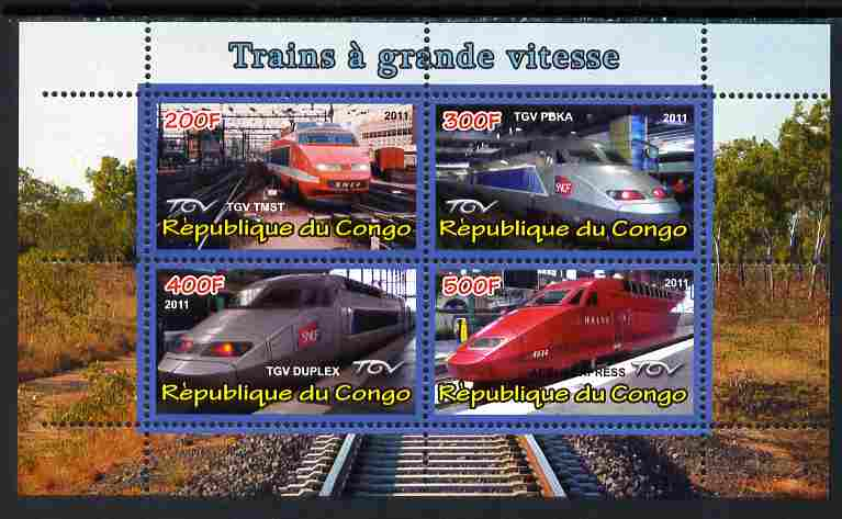 Congo 2011 High Speed Trains #2 perf sheetlet containing 4 values unmounted mint