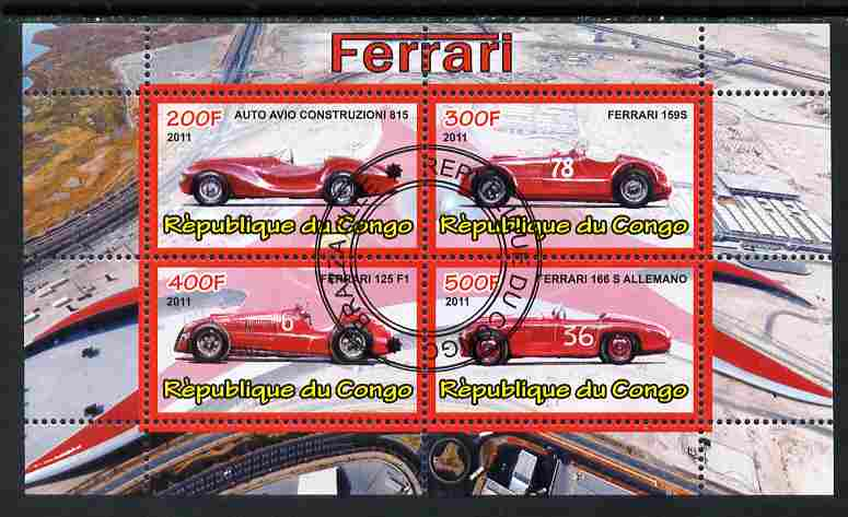 Congo 2011 Ferrari cars #1 perf sheetlet containing 4 values cto used