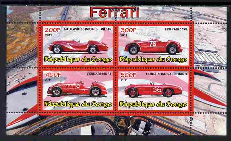 Congo 2011 Ferrari cars #1 perf sheetlet containing 4 values unmounted mint