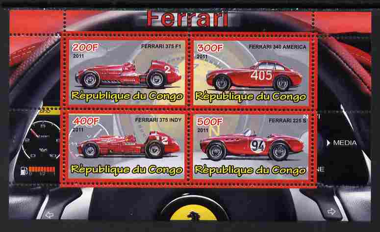 Congo 2011 Ferrari cars #2 perf sheetlet containing 4 values unmounted mint