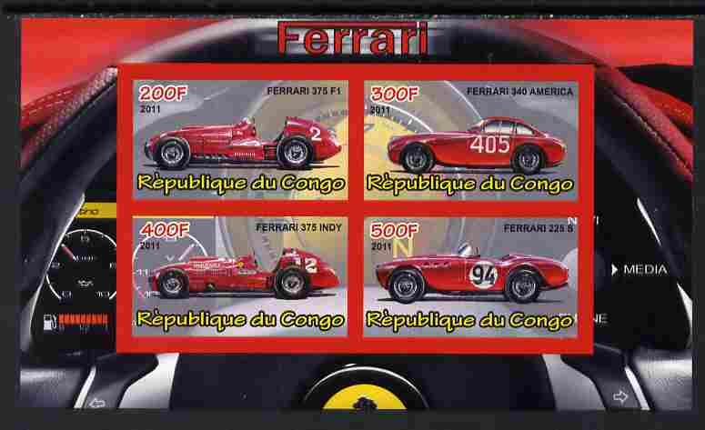 Congo 2011 Ferrari cars #2 imperf sheetlet containing 4 values unmounted mint