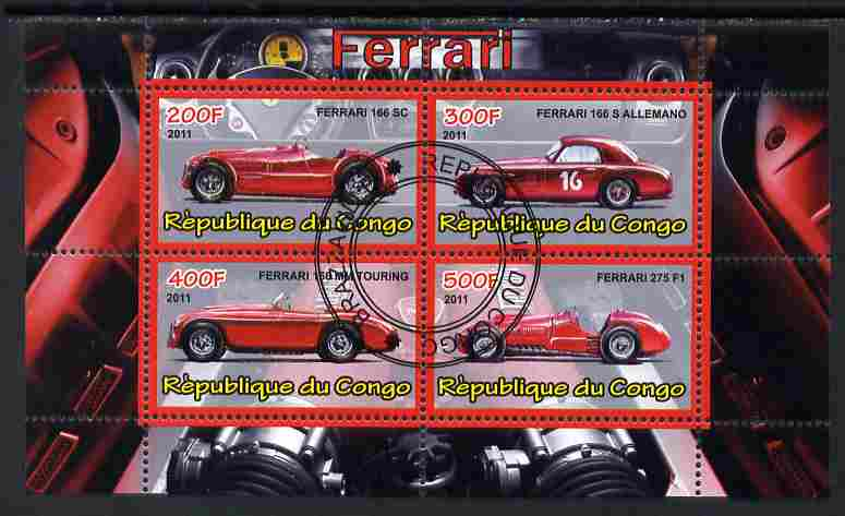 Congo 2011 Ferrari cars #3 perf sheetlet containing 4 values cto used