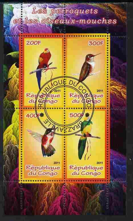 Congo 2011 Birds - Hummingbirds & Parrots perf sheetlet containing 4 values cto used