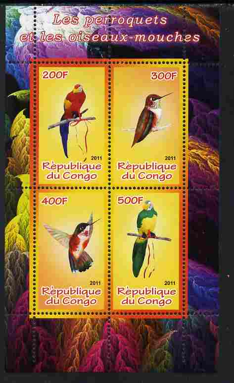 Congo 2011 Birds - Hummingbirds & Parrots perf sheetlet containing 4 values unmounted mint