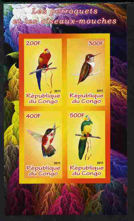 Congo 2011 Birds - Hummingbirds & Parrots imperf sheetlet containing 4 values unmounted mint